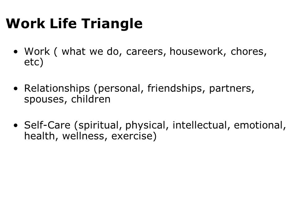 Work Life Triangle Work ( what we do, careers, housework, chores, etc) Relationships (personal, friendships, partners, spouses, children Self-Care (sp