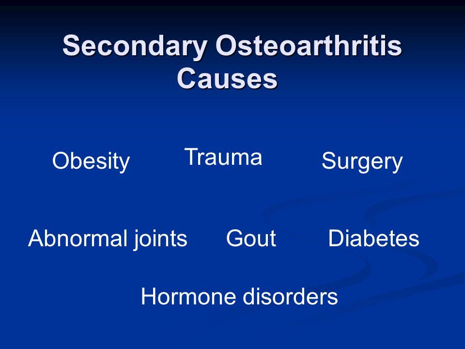Secondary Osteoarthritis Obesity Trauma Surgery Abnormal jointsGoutDiabetes Hormone disorders Causes