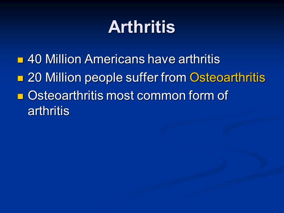 Arthritis 40 Million Americans have arthritis 40 Million Americans have arthritis 20 Million people suffer from Osteoarthritis 20 Million people suffe