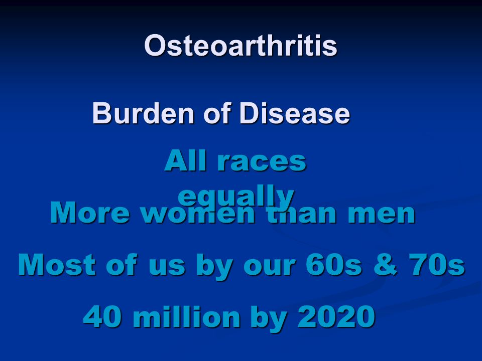 Osteoarthritis Most of us by our 60s & 70s More women than men All races equally 40 million by 2020 Burden of Disease
