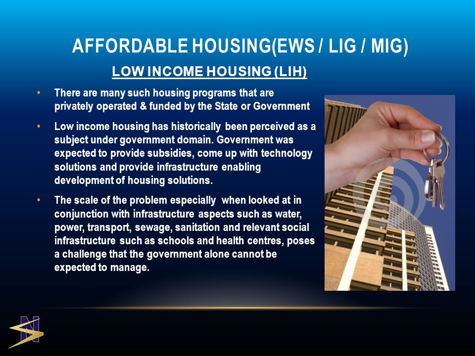 LOW INCOME HOUSING (LIH) There are many such housing programs that are privately operated & funded by the State or Government Low income housing has historically been perceived as a subject under government domain.
