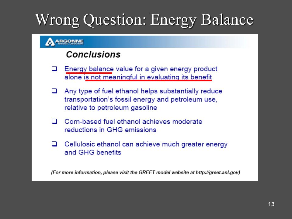 13 Wrong Question: Energy Balance