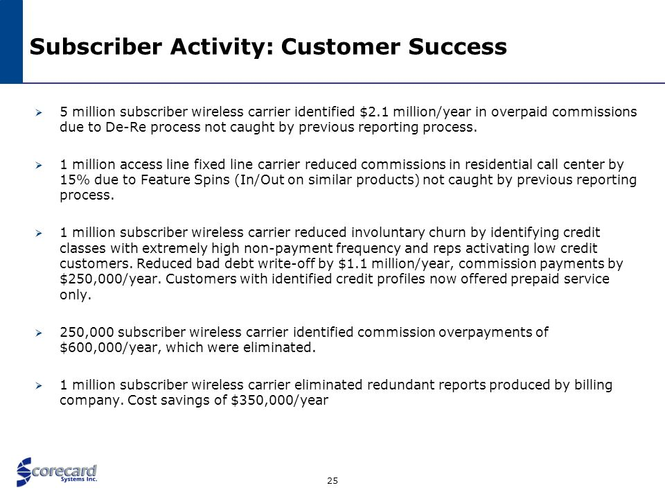 25 Subscriber Activity: Customer Success 5 million subscriber wireless carrier identified $2.1 million/year in overpaid commissions due to De-Re proce