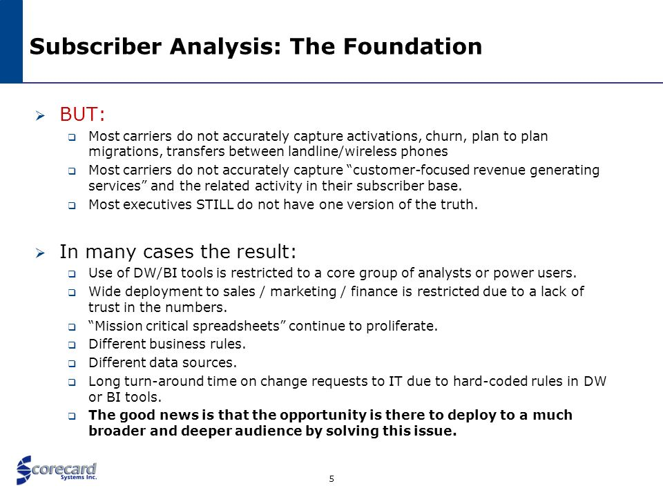 6 Subscriber Analysis: The Foundation In order to best empower: Traffic Analysis Cost of Acquisition / Profitability Active Data Warehousing Revenue Assurance You need to know: Was this really churn.