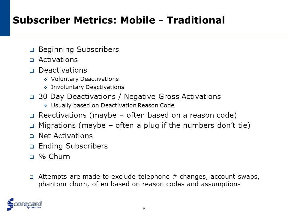 9 Subscriber Metrics: Mobile - Traditional Beginning Subscribers Activations Deactivations Voluntary Deactivations Involuntary Deactivations 30 Day De