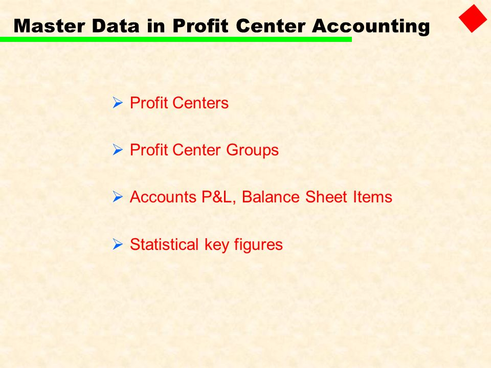 Master Data in Profit Center Accounting Profit Centers Profit Center Groups Accounts P&L, Balance Sheet Items Statistical key figures