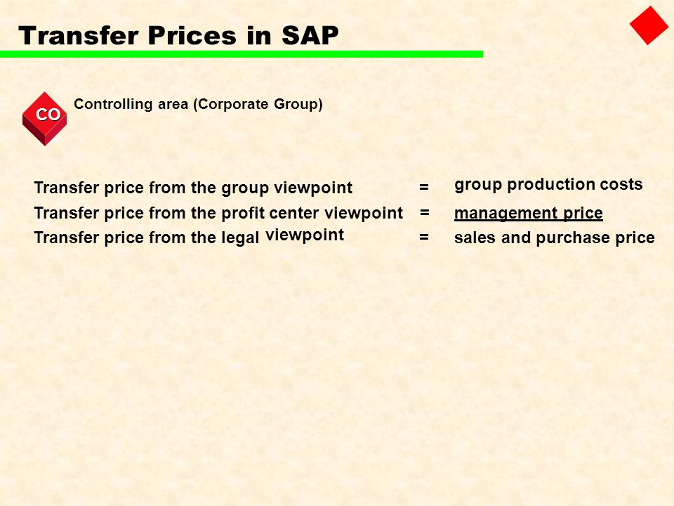 Transfer Prices in SAP Controlling area (Corporate Group) CO Transfer price from the group viewpoint= group production costs Transfer price from the p