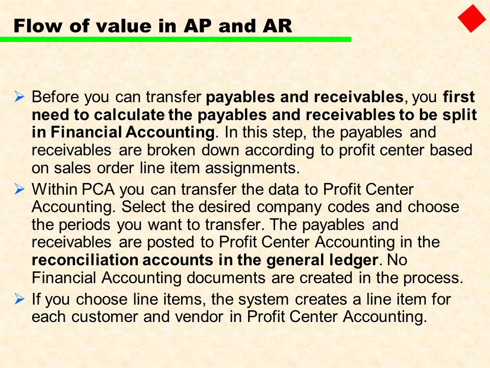 Flow of value in AP and AR Before you can transfer payables and receivables, you first need to calculate the payables and receivables to be split in F