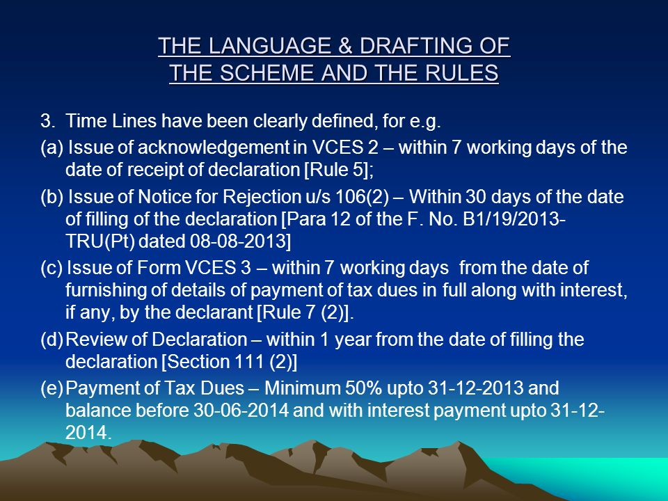 THE LANGUAGE & DRAFTING OF THE SCHEME AND THE RULES 3.Time Lines have been clearly defined, for e.g. (a) Issue of acknowledgement in VCES 2 – within 7