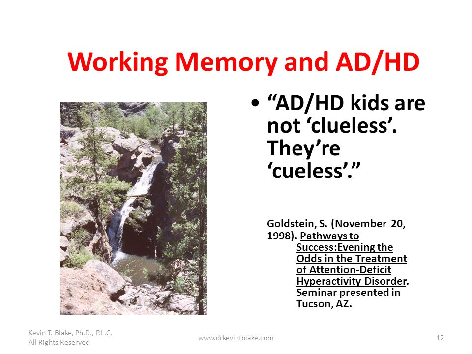 Kevin T. Blake, Ph.D., P.L.C. All Rights Reserved www.drkevintblake.com12 Working Memory and AD/HD AD/HD kids are not clueless. Theyre cueless. Goldst