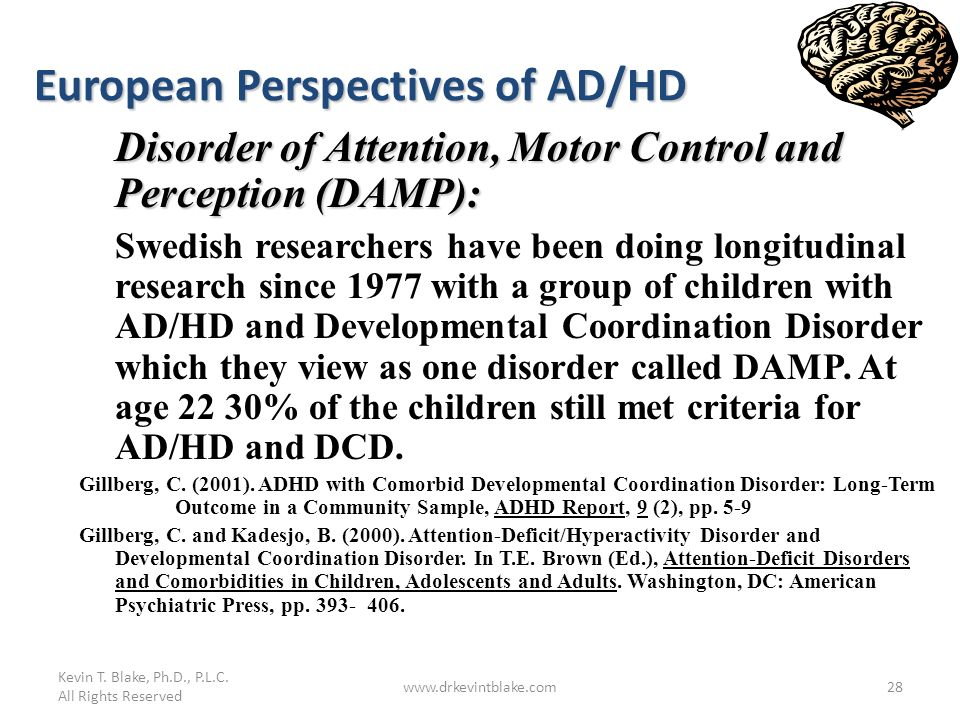 Kevin T. Blake, Ph.D., P.L.C. All Rights Reserved www.drkevintblake.com28 European Perspectives of AD/HD Disorder of Attention, Motor Control and Perc
