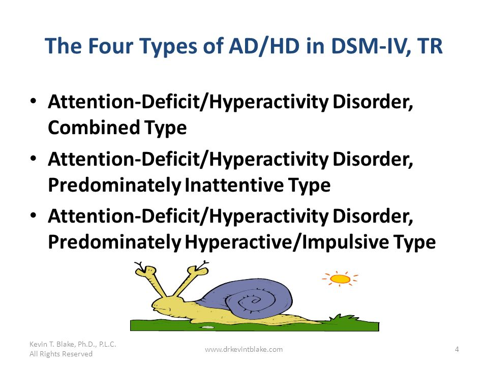 Kevin T. Blake, Ph.D., P.L.C. All Rights Reserved www.drkevintblake.com4 The Four Types of AD/HD in DSM-IV, TR Attention-Deficit/Hyperactivity Disorde