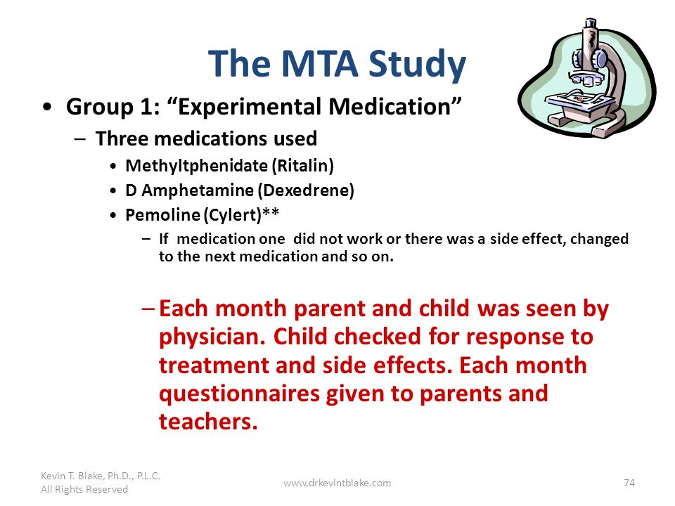 Kevin T. Blake, Ph.D., P.L.C. All Rights Reserved www.drkevintblake.com74 The MTA Study Group 1: Experimental Medication –Three medications used Methy