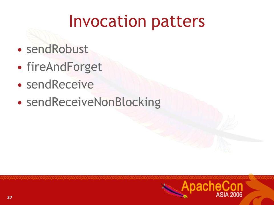 37 Invocation patters sendRobust fireAndForget sendReceive sendReceiveNonBlocking