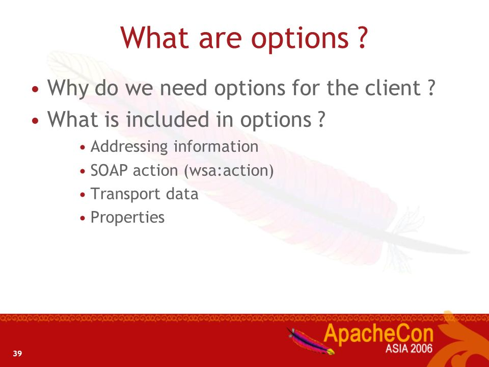 39 What are options ? Why do we need options for the client ? What is included in options ? Addressing information SOAP action (wsa:action) Transport