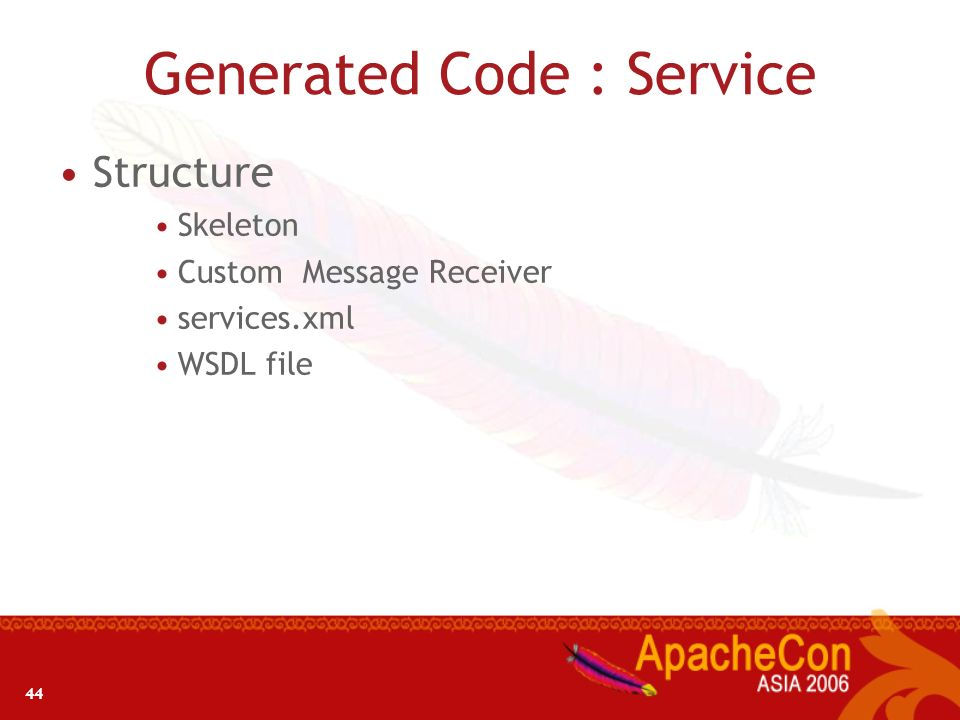 44 Generated Code : Service Structure Skeleton Custom Message Receiver services.xml WSDL file