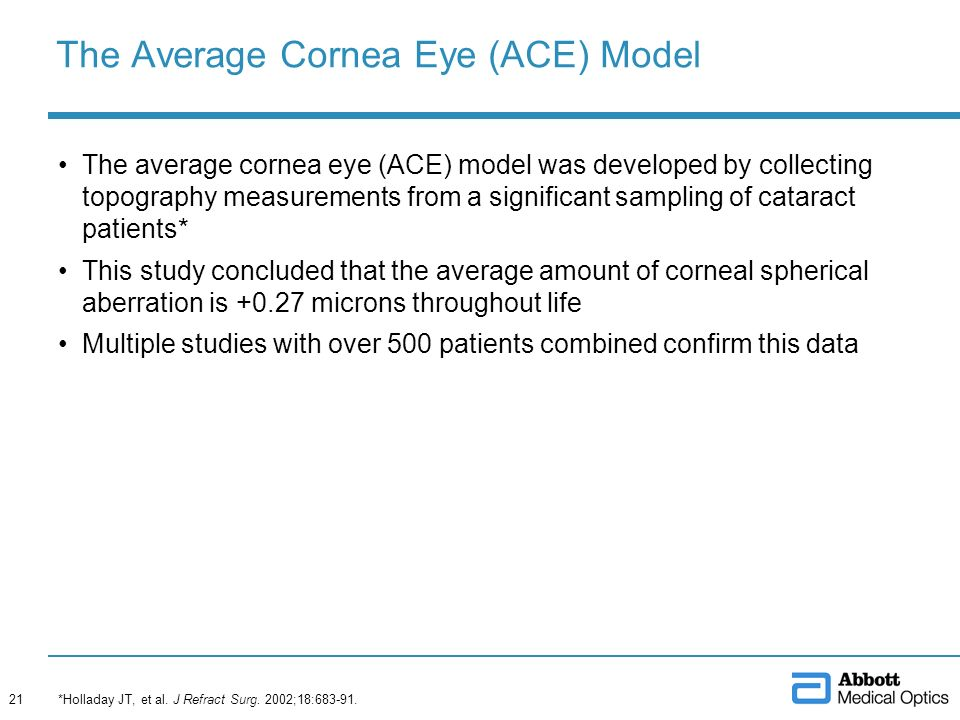The Average Cornea Eye (ACE) Model The average cornea eye (ACE) model was developed by collecting topography measurements from a significant sampling