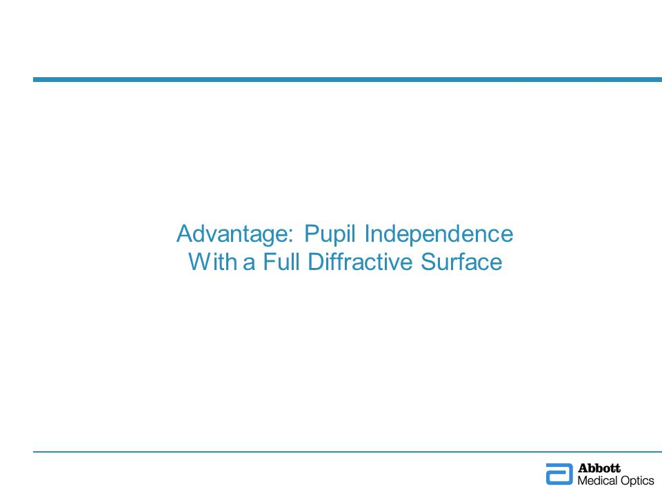 Advantage: Pupil Independence With a Full Diffractive Surface