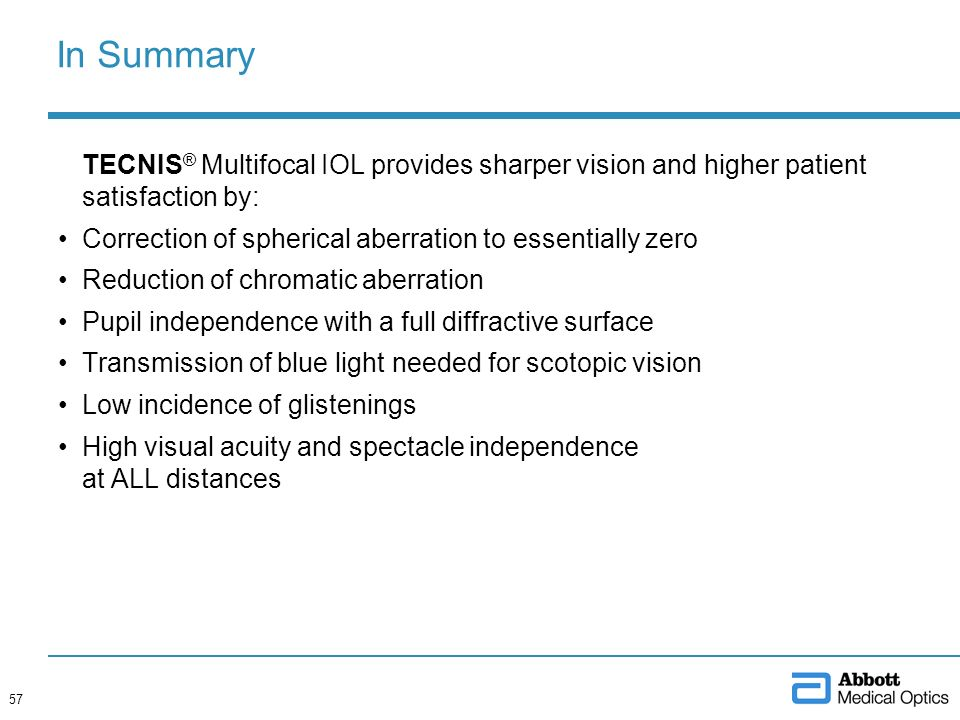 In Summary TECNIS ® Multifocal IOL provides sharper vision and higher patient satisfaction by: Correction of spherical aberration to essentially zero