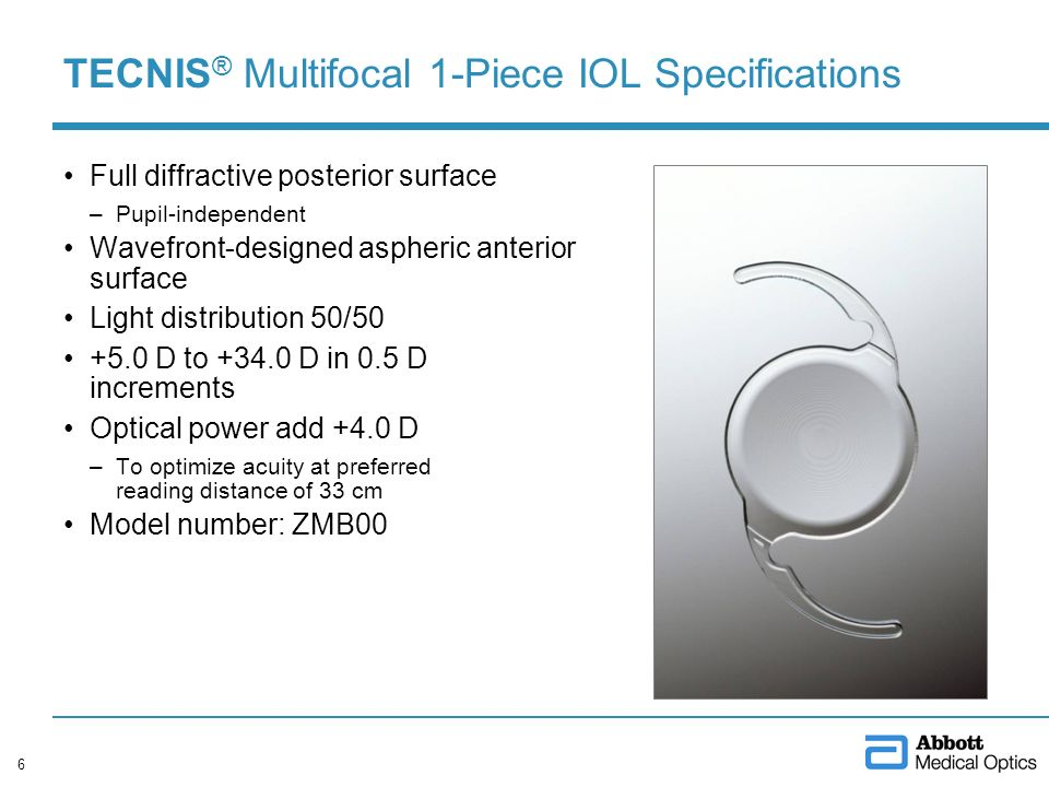 TECNIS ® Multifocal 1-Piece IOL Specifications Full diffractive posterior surface –Pupil-independent Wavefront-designed aspheric anterior surface Ligh
