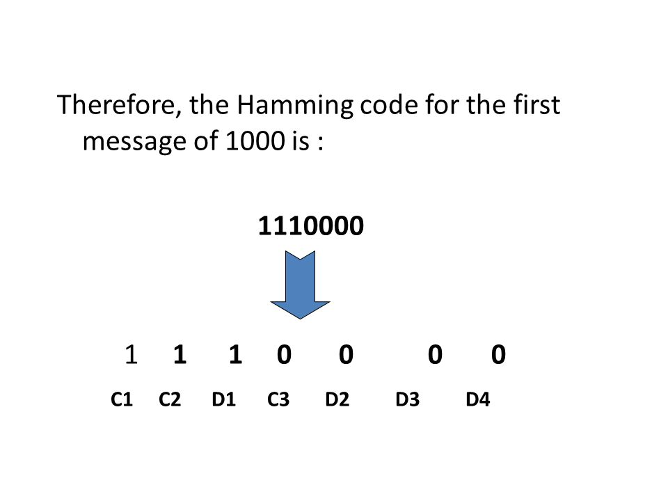 Therefore, the Hamming code for the first message of 1000 is : 1110000 1 1 1 0 0 0 0 C1 C2 D1 C3 D2 D3 D4
