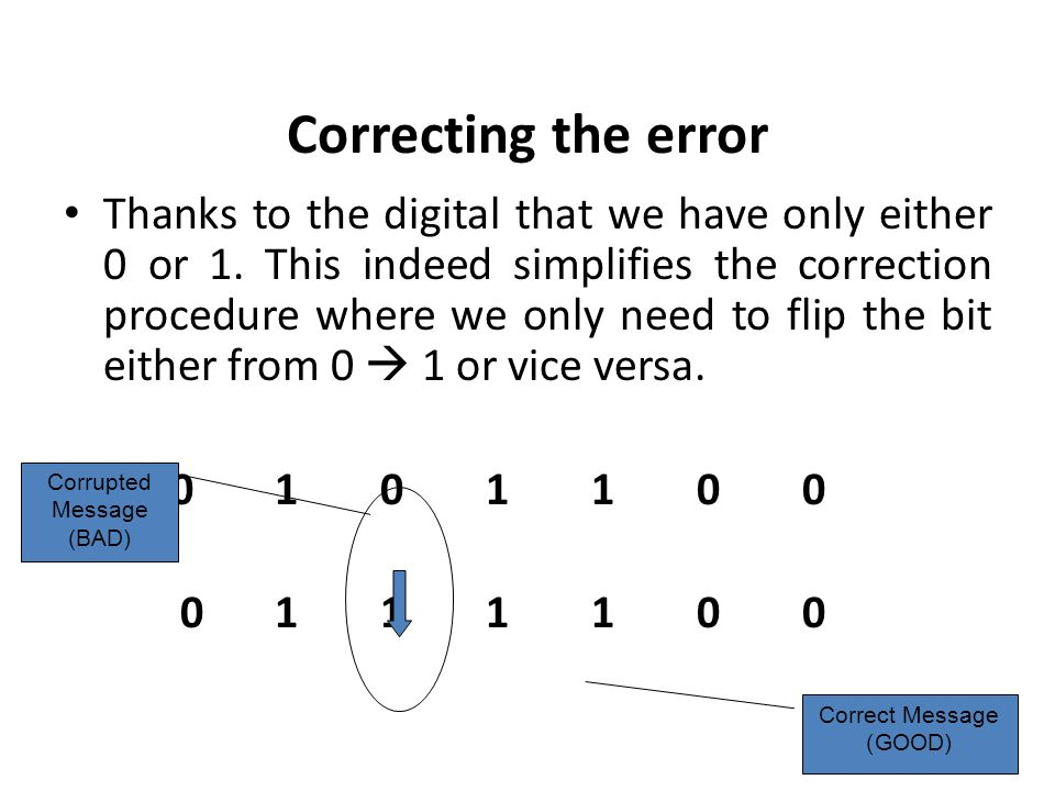 Correcting the error Thanks to the digital that we have only either 0 or 1. This indeed simplifies the correction procedure where we only need to flip