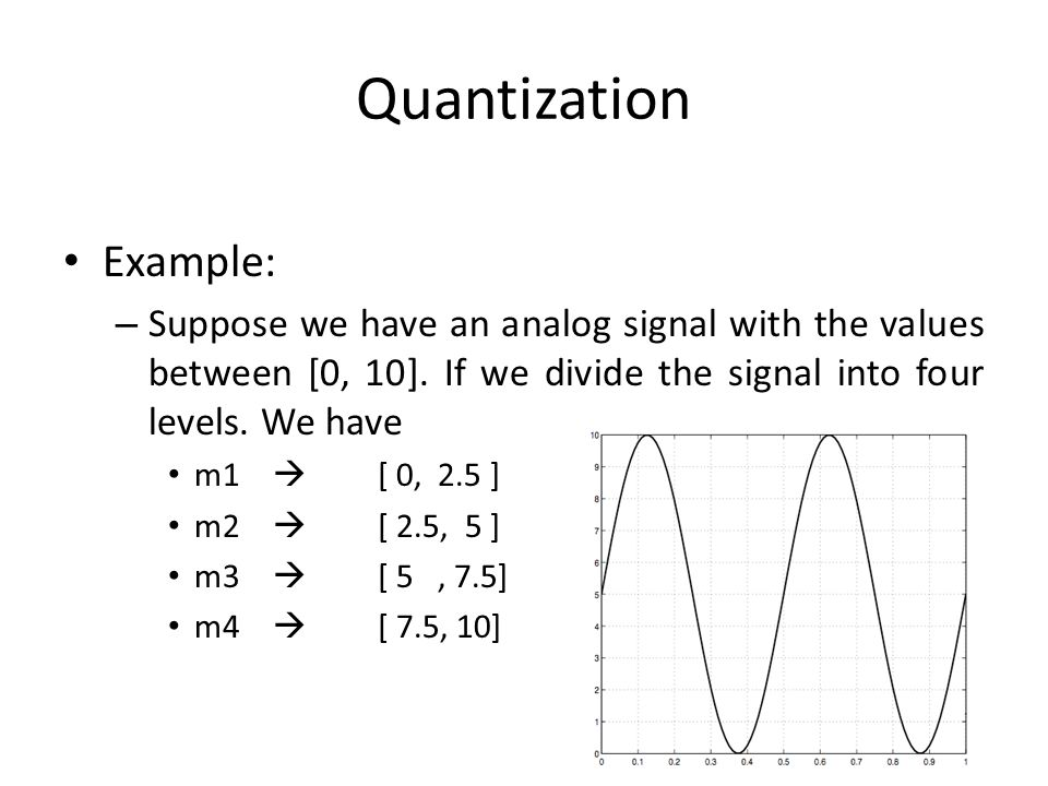 Quantization Example: – Suppose we have an analog signal with the values between [0, 10]. If we divide the signal into four levels. We have m1 [ 0, 2.