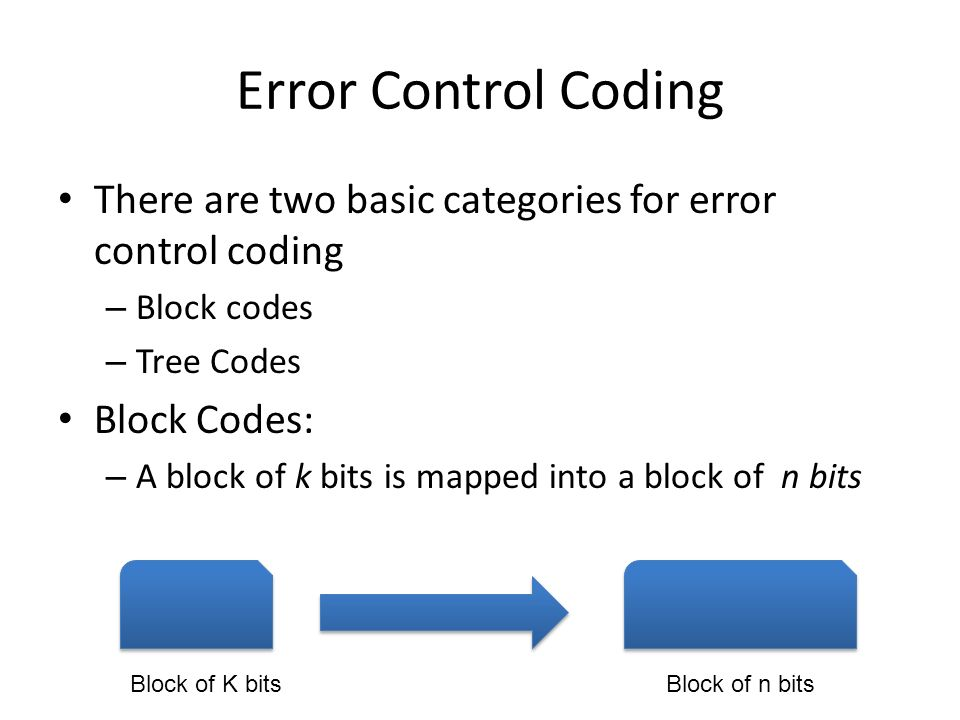 Error Control Coding There are two basic categories for error control coding – Block codes – Tree Codes Block Codes: – A block of k bits is mapped int