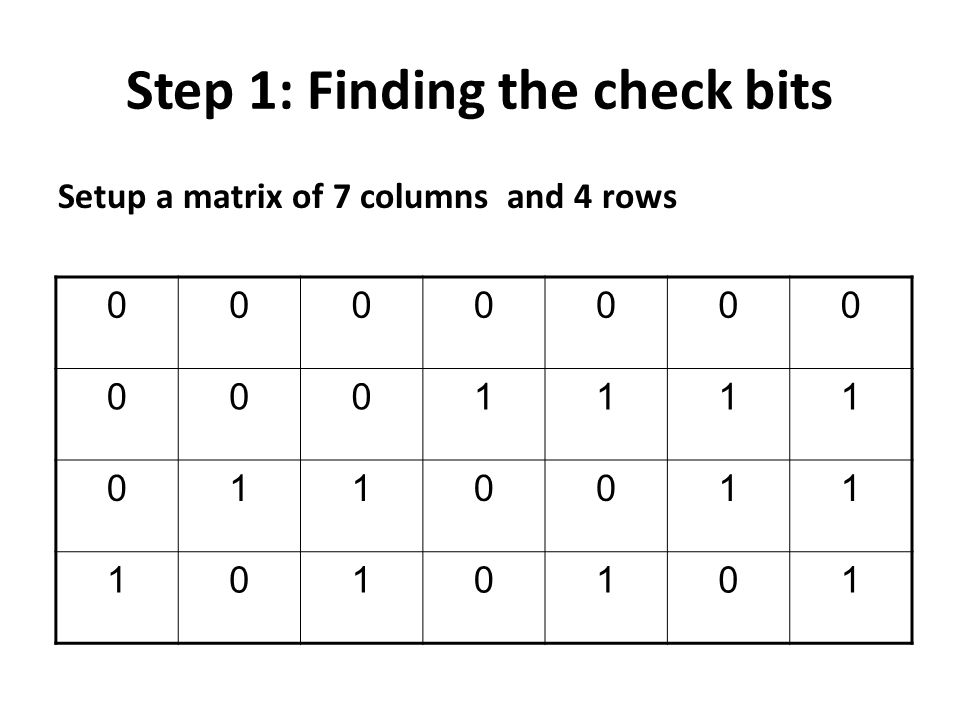 Step 1: Finding the check bits Setup a matrix of 7 columns and 4 rows 0000000 0001111 0110011 1010101