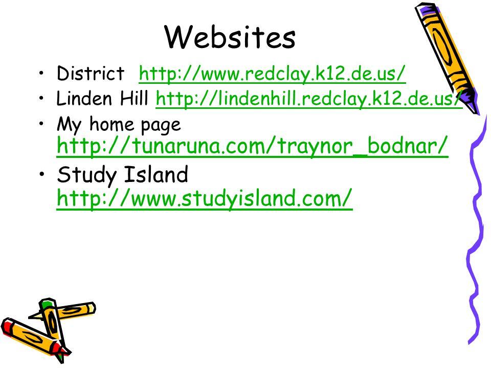 Websites District http://www.redclay.k12.de.us/http://www.redclay.k12.de.us/ Linden Hill http://lindenhill.redclay.k12.de.us/http://lindenhill.redclay