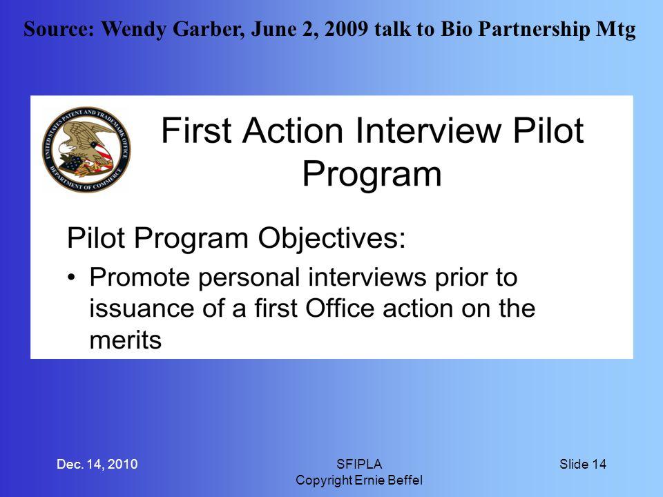 Source: Wendy Garber, June 2, 2009 talk to Bio Partnership Mtg Dec.