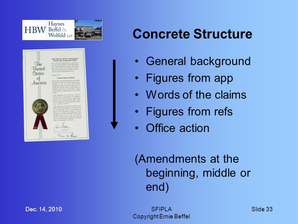 Concrete Structure General background Figures from app Words of the claims Figures from refs Office action (Amendments at the beginning, middle or end) Dec.