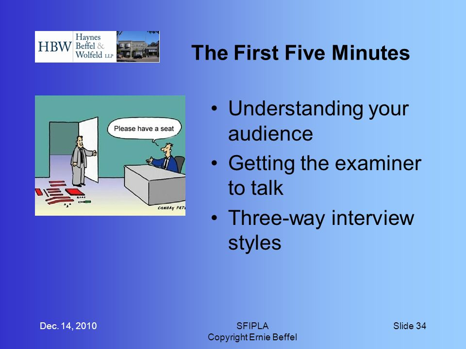 The First Five Minutes Understanding your audience Getting the examiner to talk Three-way interview styles Dec.