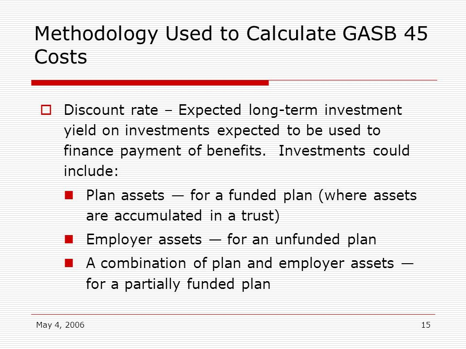 May 4, 200615 Methodology Used to Calculate GASB 45 Costs Discount rate – Expected long-term investment yield on investments expected to be used to fi