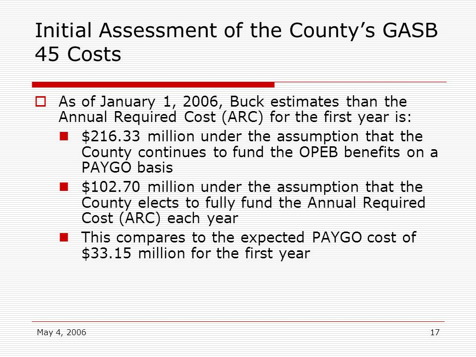 May 4, 200617 Initial Assessment of the Countys GASB 45 Costs As of January 1, 2006, Buck estimates than the Annual Required Cost (ARC) for the first