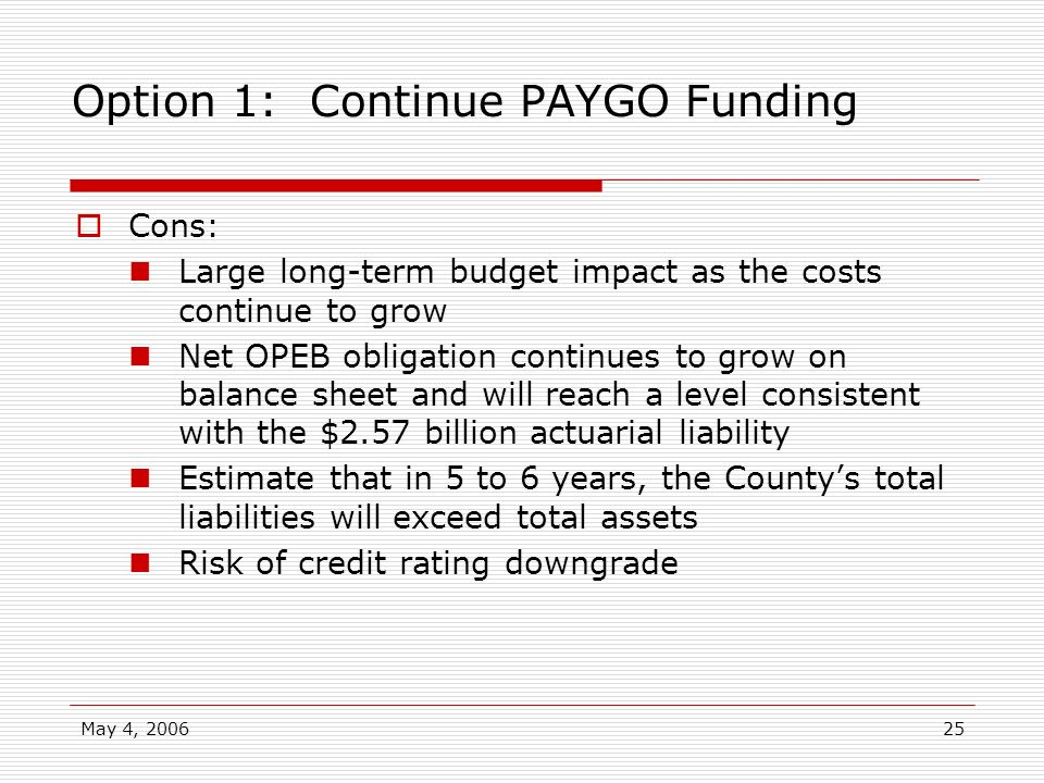 May 4, 200625 Option 1: Continue PAYGO Funding Cons: Large long-term budget impact as the costs continue to grow Net OPEB obligation continues to grow