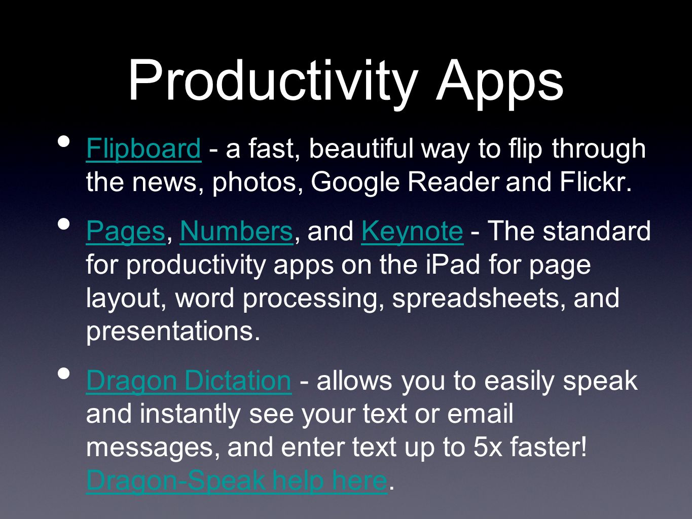 Productivity Apps Flipboard - a fast, beautiful way to flip through the news, photos, Google Reader and Flickr.