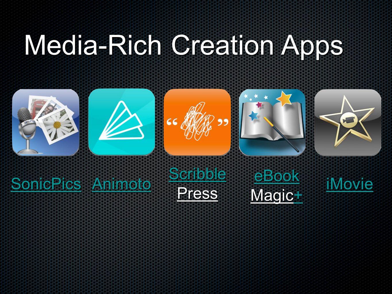 Media-Rich Creation Apps SonicPics Animoto Scribble Press eBook Magic+ + iMovie