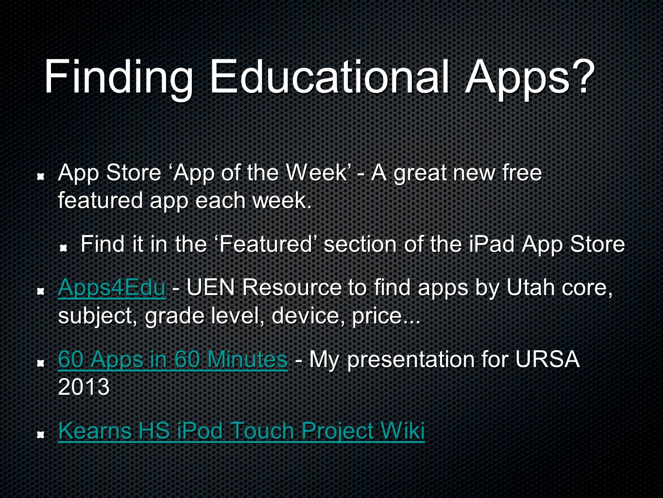 Finding Educational Apps? App Store App of the Week - A great new free featured app each week. Find it in the Featured section of the iPad App Store A