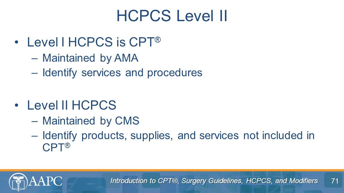 Introduction to CPT®, Surgery Guidelines, HCPCS, and Modifiers Level I HCPCS is CPT ® –Maintained by AMA –Identify services and procedures Level II HC