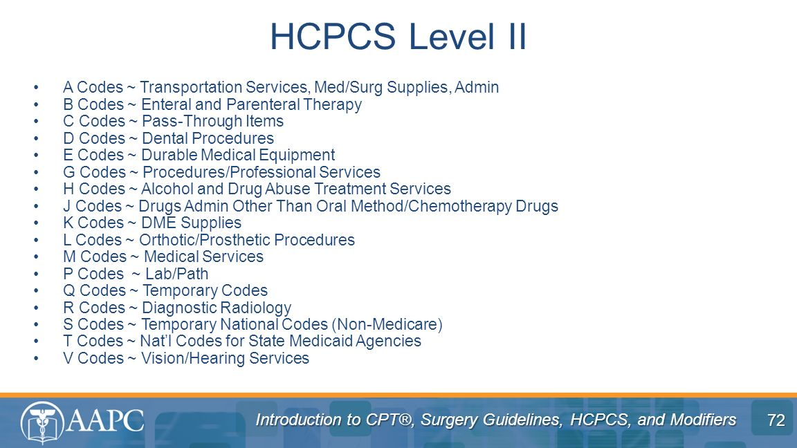 Introduction to CPT®, Surgery Guidelines, HCPCS, and Modifiers A Codes ~ Transportation Services, Med/Surg Supplies, Admin B Codes ~ Enteral and Paren