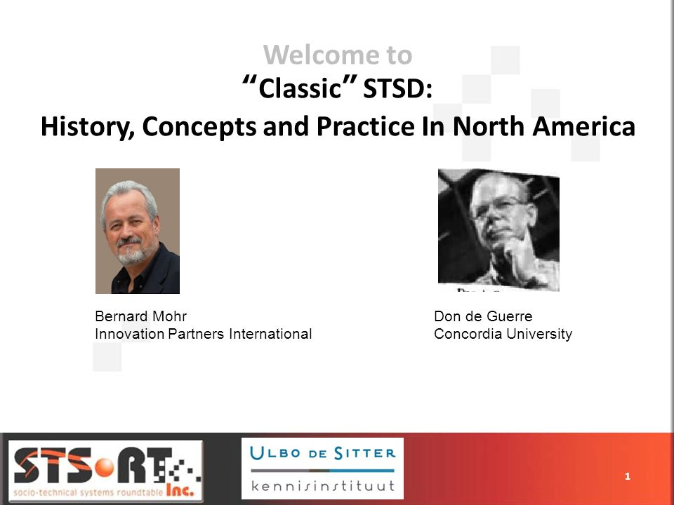 Welcome toClassic STSD: History, Concepts and Practice In North America 1 Bernard Mohr Innovation Partners International Don de Guerre Concordia University