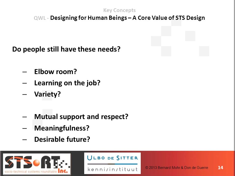 © 2013 Bernard Mohr & Don de Guerre 14 Key Concepts QWL - Designing for Human Beings – A Core Value of STS Design Do people still have these needs.