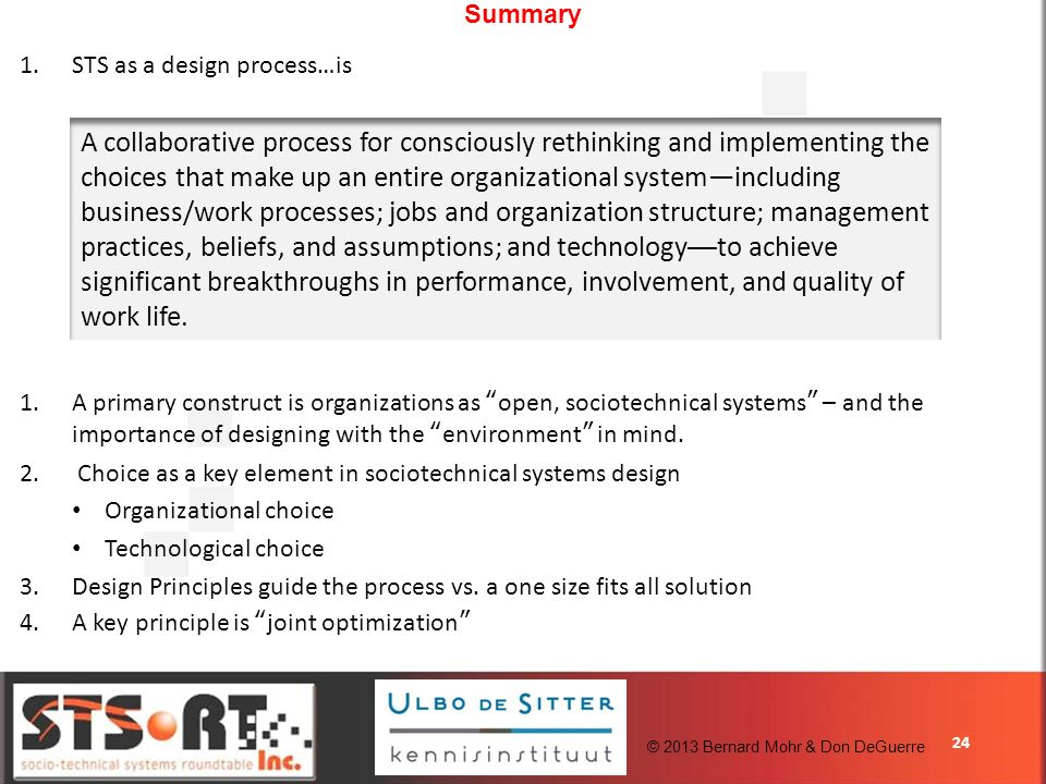 24 Summary 1.STS as a design process…is 1.A primary construct is organizations as open, sociotechnical systems – and the importance of designing with the environment in mind.