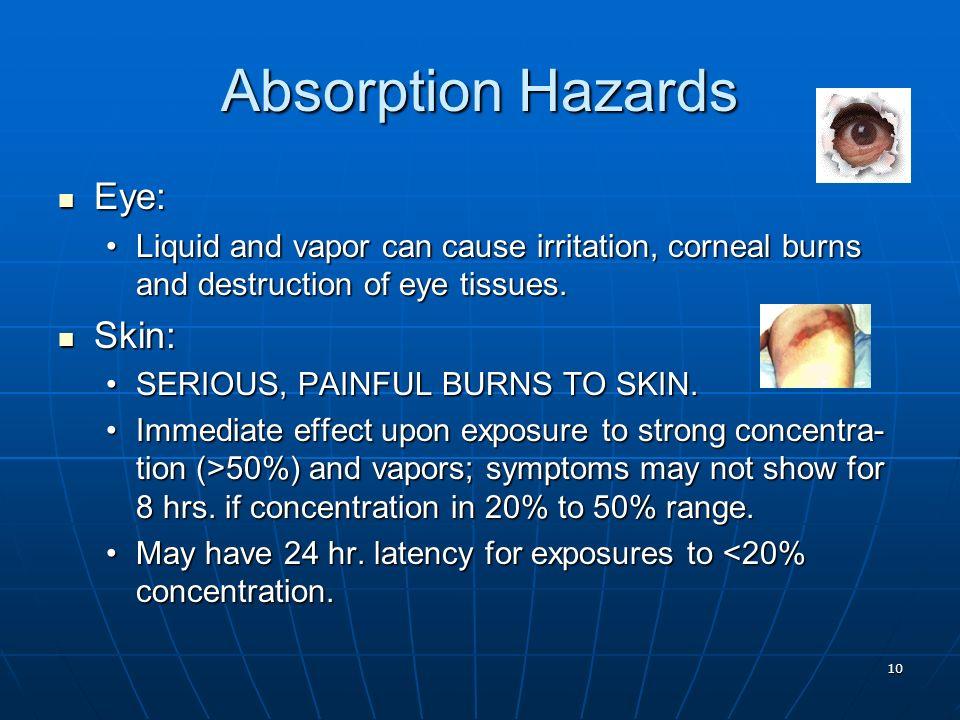 10 Absorption Hazards Eye: Eye: Liquid and vapor can cause irritation, corneal burns and destruction of eye tissues.Liquid and vapor can cause irritat