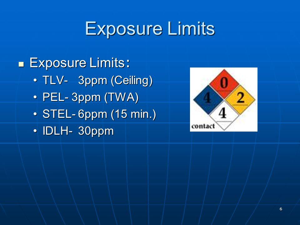 6 Exposure Limits Exposure Limits : Exposure Limits : TLV-3ppm (Ceiling)TLV-3ppm (Ceiling) PEL- 3ppm (TWA)PEL- 3ppm (TWA) STEL-6ppm (15 min.)STEL-6ppm