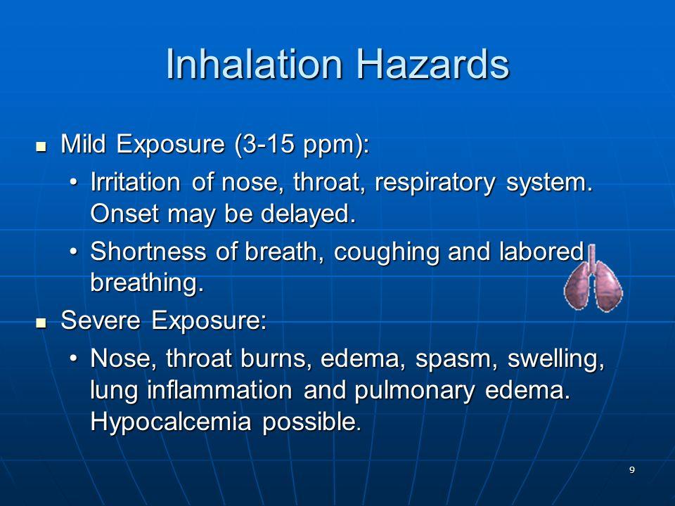 9 Inhalation Hazards Mild Exposure (3-15 ppm): Mild Exposure (3-15 ppm): Irritation of nose, throat, respiratory system. Onset may be delayed.Irritati