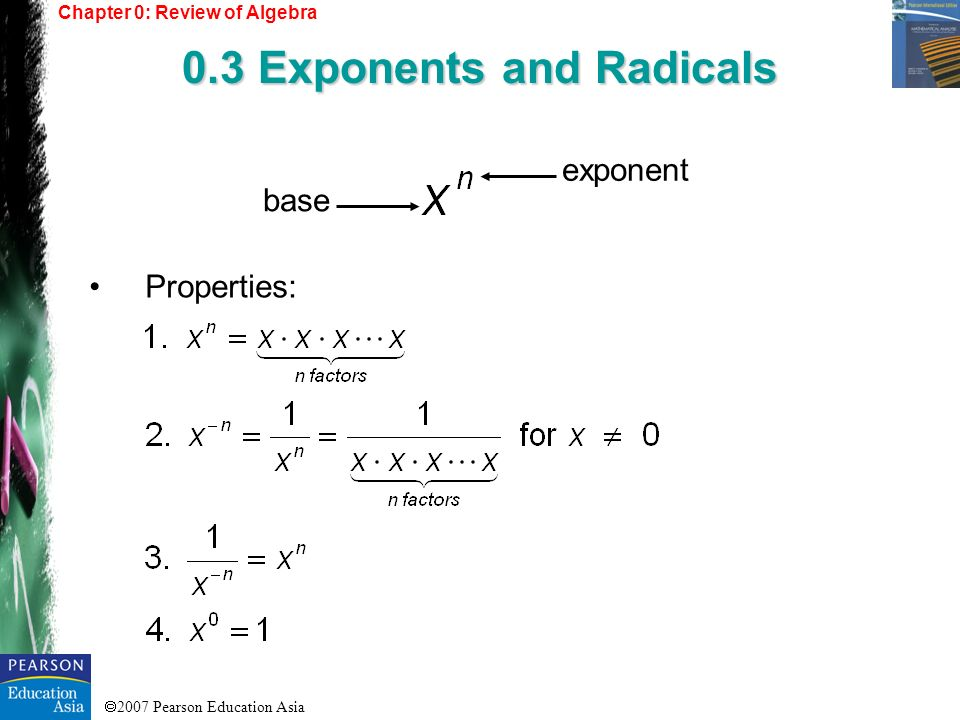 2007 Pearson Education Asia Properties: Chapter 0: Review of Algebra 0.3 Exponents and Radicals exponent base
