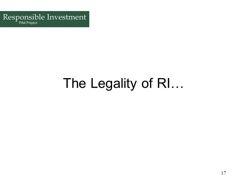 17 The Legality of RI…