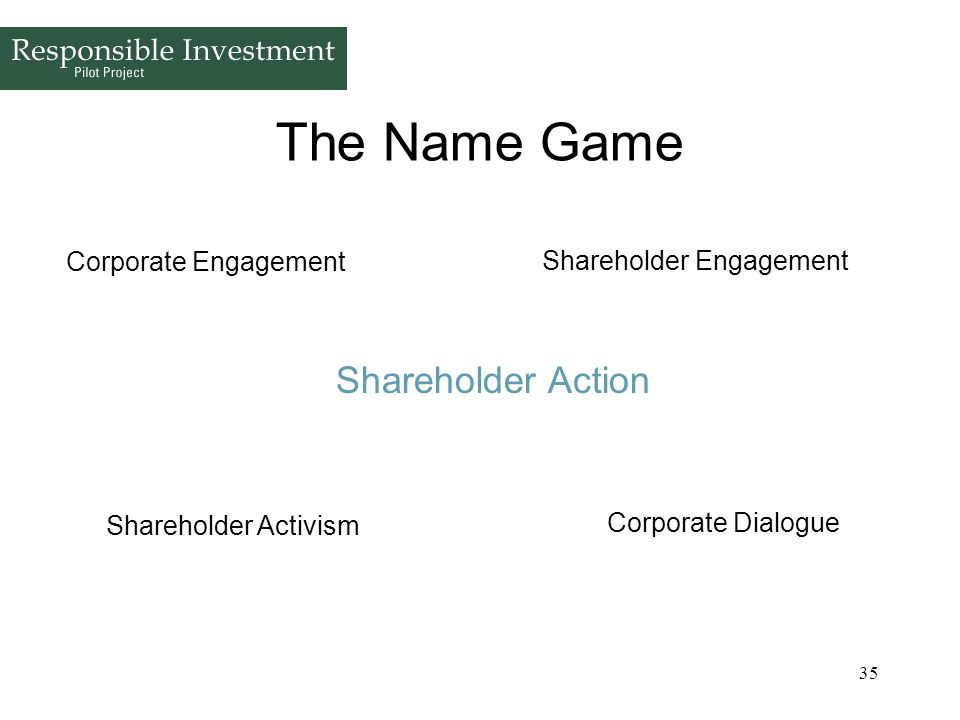 35 The Name Game Shareholder Action Shareholder Engagement Corporate Engagement Corporate Dialogue Shareholder Activism